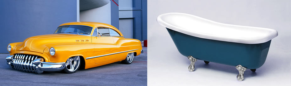Buick Motorcar and clawfoot bath